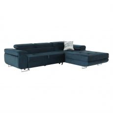 Rohová sedací souprava, modrá, pravá, AMARETA