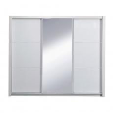 Skříň s posuvnými dveřmi, bílá / vysoký bílý lesk, 208, ASIENA