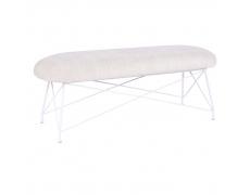 Designová lavice, béžová látka, bílý kov, RIVOLA