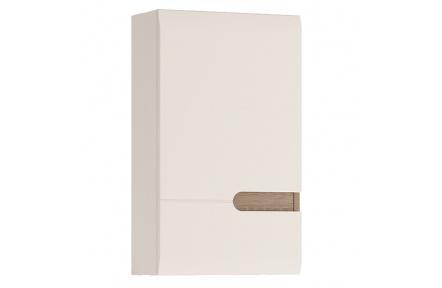 Horní skříňka 1D, bílá extra vysoký lesk HG / dub sonoma truflový, levá, LYNATET TYP 157