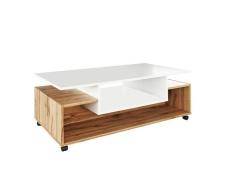 Konferenční stolek na kolečkách, bílá / dub Wotan, DALEN