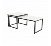 Set 2 konferenčních stolků, matná bílá / černá, KASTLER TYP 2