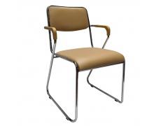 Zasedací stolička, hnědá ekokůže, DERYA