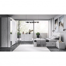 Ložnicová sestava (postel + 2x noční stolek + skříň), šedý beton, ALDEN