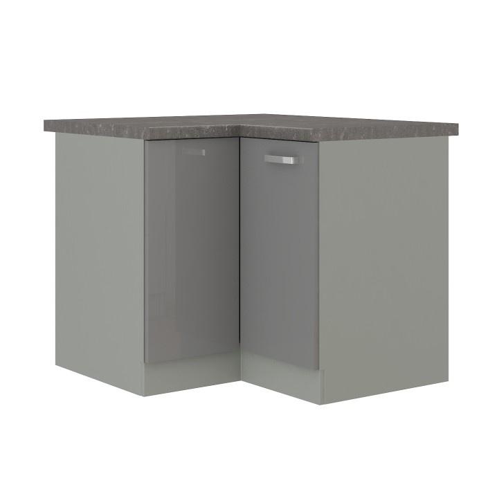 Skříňka dolní rohová, šedá vysoký lesk / šedá, PRADO 90/90 DN ZB