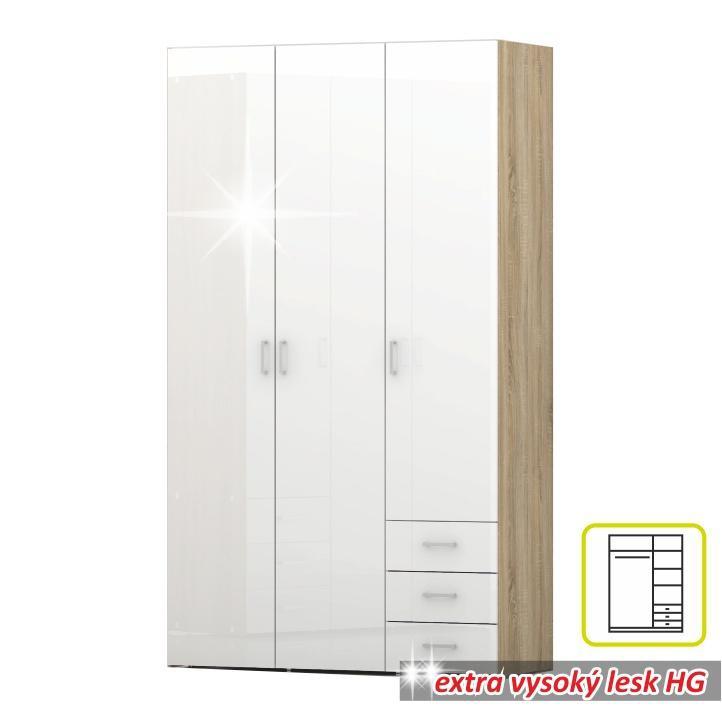 Skříň, 3 - dveřová, dub sonoma / bílá extra vysoký lesk HG, GWEN 70427