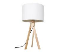 Stolní lampa, bílá / přírodní dřevo, LILA Typ 1