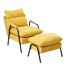 Křeslo s podnoží, žlutá / kov, BANDER