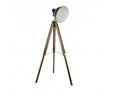 Stojací lampa, tmavě šedý kov / dřevo, CINDA TYP 27