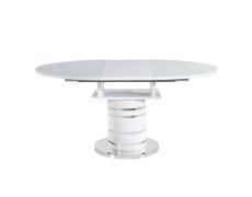 Jídelní stůl rozkládací, bílá vysoký lesk HG, ZAMON