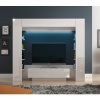 Luxusní TV a media stěna, bílá/bílá extra vysoký lesk, MONTEREJ