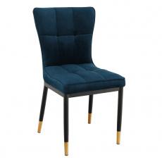 Designová jídelní židle, petrolejová Velvet látka, EPONA