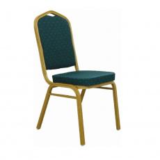 Stohovatelná židle, zelená / matný zlatý rám, ZINA 2 NEW