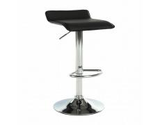 Barová židle, ekokůže černá/chrom, LARIA NEW