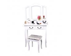 Toaletní stolek s taburetem, bílá/stříbrná, REGINA NEW