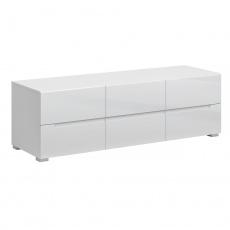 RTV stolek 6S/140, bílá/bílý extra vysoký lesk HG, JOLK