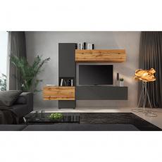 Obývací stěna, lava hnědá super mat/dub wotan, BRISTOL