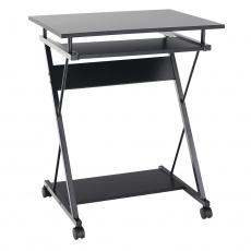 Pojízdný PC stůl / herní stůl s kolečky, černá, TARAK