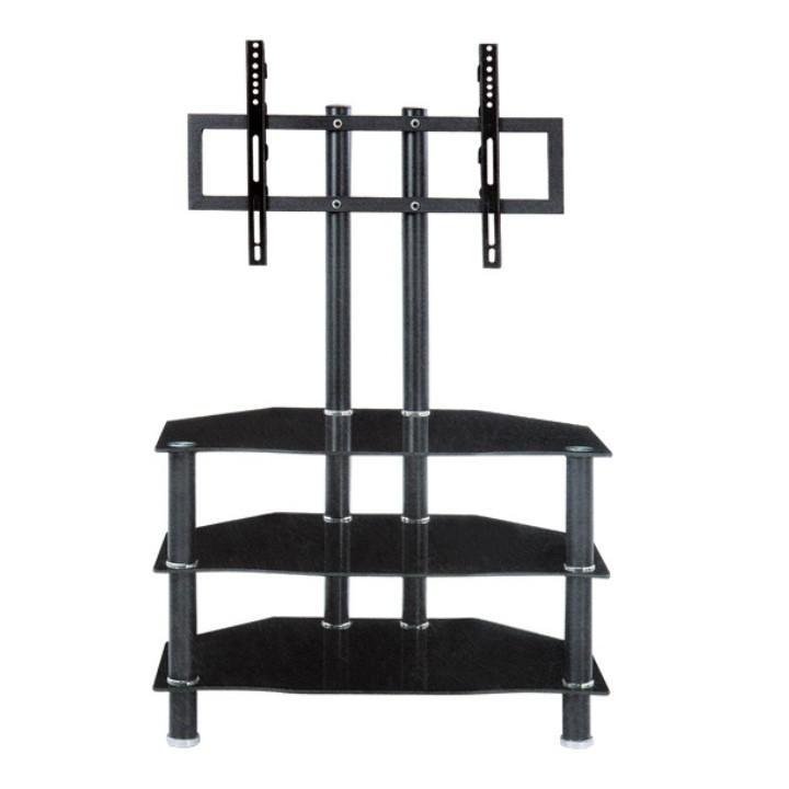 TV stolek, kov/sklo, černá, ROSS