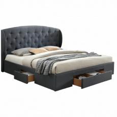 Manželská postel, látka šedá, 180x200, OLINA NEW