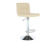 Barová stolička, béžová ekokoža/chróm, KANDY NEW