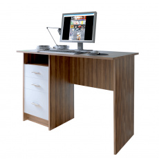PC stůl, dub švestka / bílá, SAMSON NEW