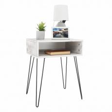 Příruční/noční stolek, bílá vintage/černá, HONEJ