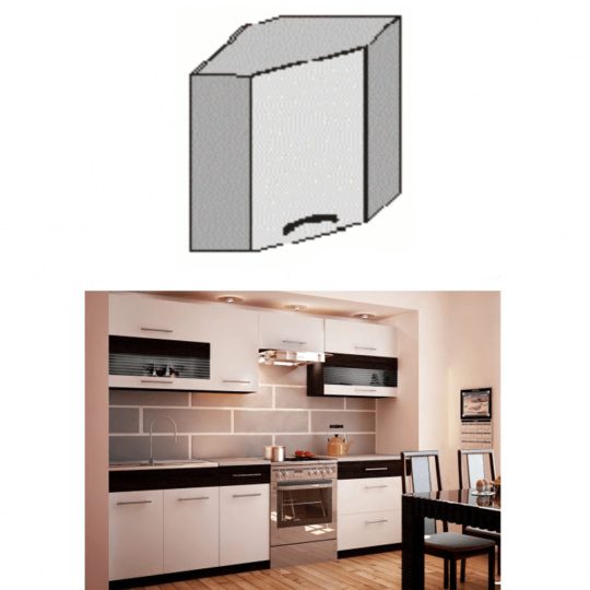 Horní rohová skříňka, bílá / wenge, JURA NEW B GN-58 * 58