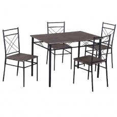 Jídelní set 1 + 4, dřevo / černá, RAMET