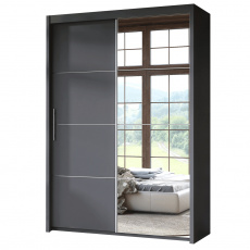 Skříň s posuvnými dveřmi, šedá, DTD, KAIPO