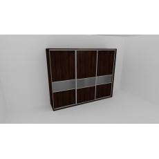 Skříň FLEXI 3 š.240cm v.240cm : 3x dveře dělené sklem MATELUX