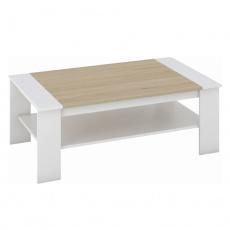 Konferenční stolek, bílá / dub sonoma, BAKER