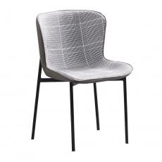 Jídelní židle, šedobílé káro / tmavě šedá látka / ekokůže, Adiana