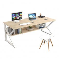 Psací stůl, s policí, dub přírodní / bílá, TARCAL 140
