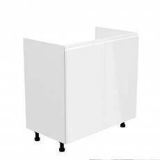 Dřezová skříňka, bílá / bílá extra vysoký lesk, AURORA D80Z