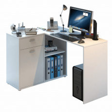 Rohový PC stůl, bílá, KALIMERO