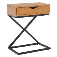 Příruční/noční stolek, dub/černá, VIRED