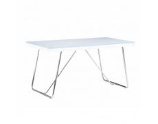 Jídelní stůl, tvrzené sklo / kov, bílá / chrom, AMI