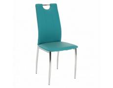 Jídelní židle, ekokůže petrolejová / chrom, OLIVA NEW