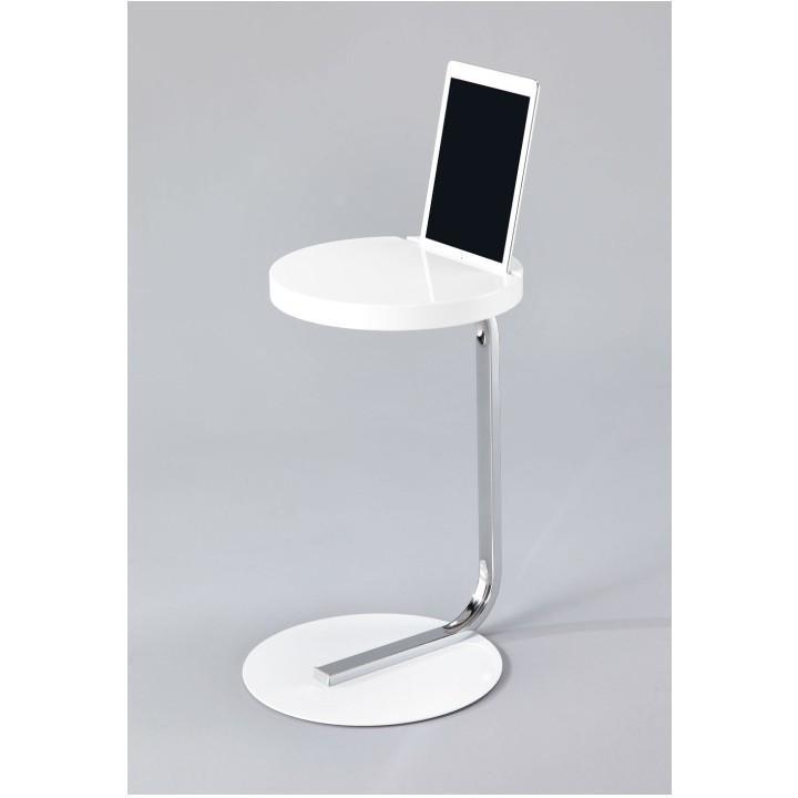 Příruční stolek se zářezem na tablet, bílý, MILANA