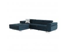 Rohová sedací souprava, modrá, levá, AMAREA