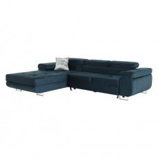 Rohová sedací souprava, modrá, levá, AMARETA
