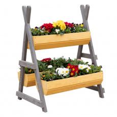 Dřevěný stojan na květiny, přírodní / šedá, Beron