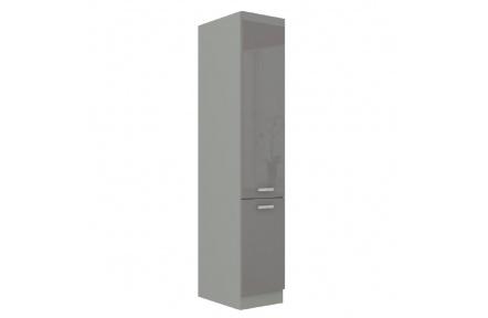Vysoká dvoudveřová skříňka, šedá vysoký lesk / šedá, PRADO 40 DK-210
