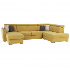 Luxusní sedací souprava, žlutá / hnědé polštářky, pravá, MARIETA U