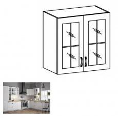 Horní dvoudveřová skříňka se sklem G80, bílá / sosna andersen, PROVANCE