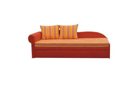 Rozkládací pohovka, oranžová / proužkovaný vzor, levá, AGA D
