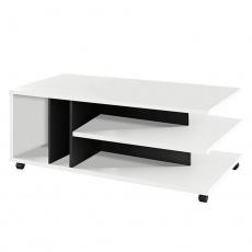 Konferenční stolek, bílá/černá, DASTI