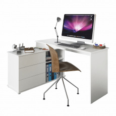 Univerzální rohový PC stůl, bílá, TERINO