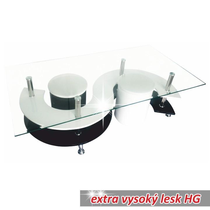 Konferenční stolek, sklo / chrom / bílá / černá, RUPERT